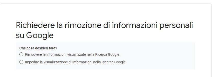 Richiedere rimozione informazioni personali Google